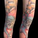 Tatuaje Pulpo y Barco Oldschool