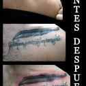 Tatuaje Cover frase con Pluma