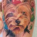 Tatuaje Retrato Yorkshire Acuarela Colores