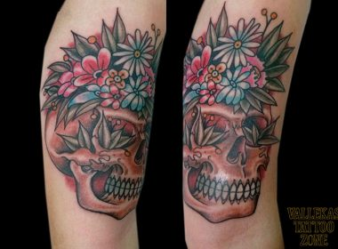 tatuaje-calavera-flores