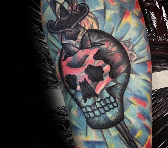 blast over tattoo calavera