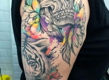 Tatuaje-Calavera-y-Tigre-Acuarela