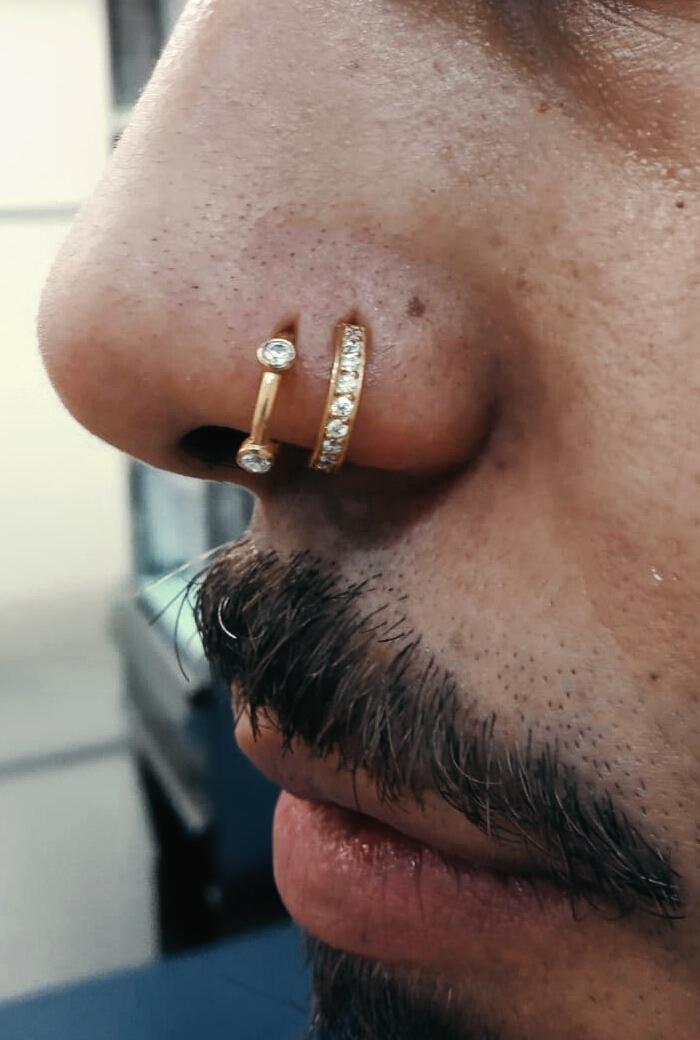 Doble nostril con aro